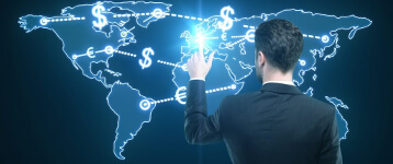 international map and money transfer
